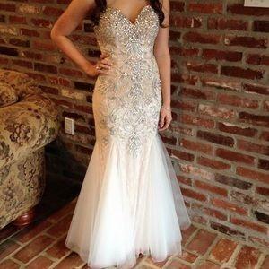 White beaded Mac Duggal prom/formal dress